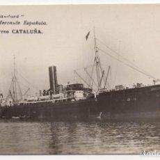 Postales: POSTAL FOTOGRÁFICA DE MARINA MERCANTE ESPAÑOLA - VAPOR CORREO CATALUÑA. Lote 132457694