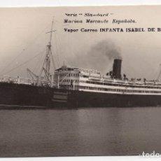 Postales: POSTAL FOTOGRÁFICA DE MARINA MERCANTE ESPAÑOLA - VAPOR CORREO INFANTA ISABEL DE BORBÓN. Lote 132458074