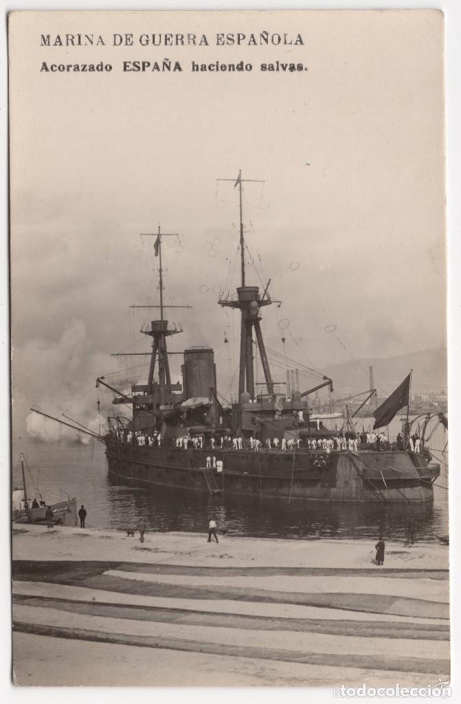 POSTAL FOTOGRÁFICA DE MARINA DE GUERRA ESPAÑOLA - ACORAZADO ESPAÑA (Postales - Postales Temáticas - Barcos)
