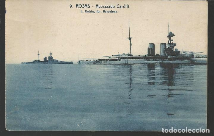 POSTAL ROSAS (GIRONA) - ACORAZADO CARDIFF - FOTO ROISIN (Postales - Postales Temáticas - Barcos)