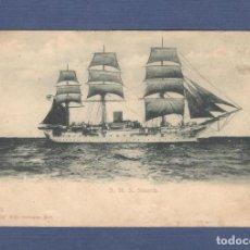 Postales: POSTAL ANTIGUO VELERO ALEMAN S.M.S. STOSCH (1906) - CIRCULADA Y ESCRITA. Lote 135155422