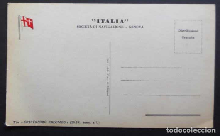 Postales: Societa di navigazione _ Genova , Italia buque Cristoforo Colombo. Antigua Postal sin circular - Foto 2 - 181099751
