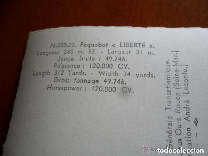 Postales: CLICHÉ COMPAGNIE GÉNÉRALE TRANSATLANTIQUE - FABRICACIÓN ANDRÉ LECONTE - TRANSATLANTICO LIBERTÉ - Foto 4 - 135264866
