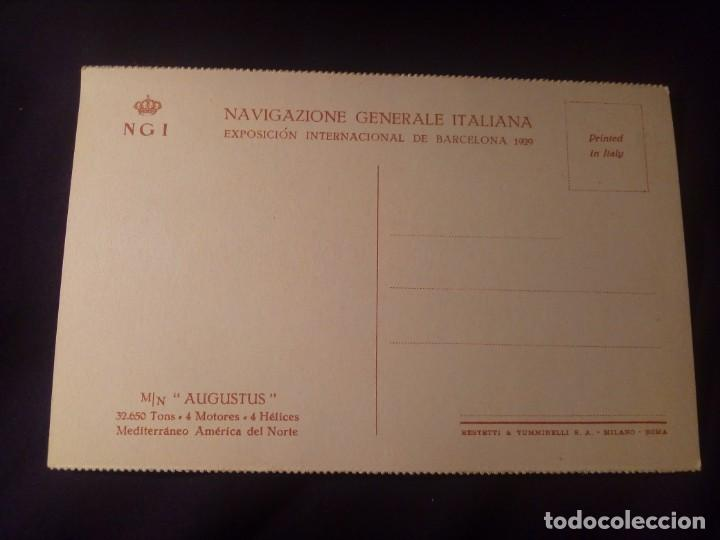 Postales: Postal antigua barco m/n augustus navigazione generales italiana E.I. Barcelona 1929 - Foto 2 - 137255566