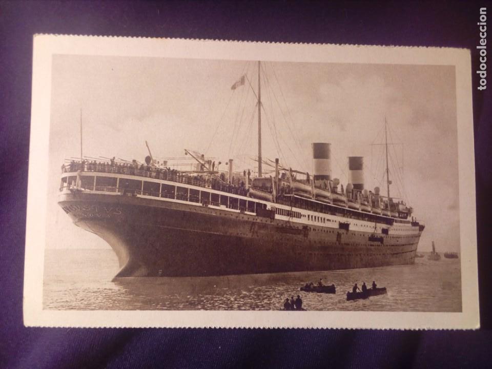 POSTAL ANTIGUA BARCO M/N AUGUSTUS NAVIGAZIONE GENERALES ITALIANA E.I. BARCELONA 1929 (Postales - Postales Temáticas - Barcos)