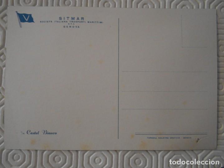 Postales: SITMAR. SOCIETA ITALIANA TRASPORTI MARITIMI. S.P.A. GENOVA. CASTEL BIANCO. POSTAL. - Foto 2 - 142068330