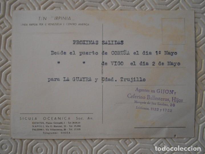 Postales: T / N IRPINA. LINEA RAPIDA PER IL VENEZUELA EN CENTRO AMERICA. SICULA OCEANICA. SOC. AN. AGENTES EN - Foto 2 - 142068594