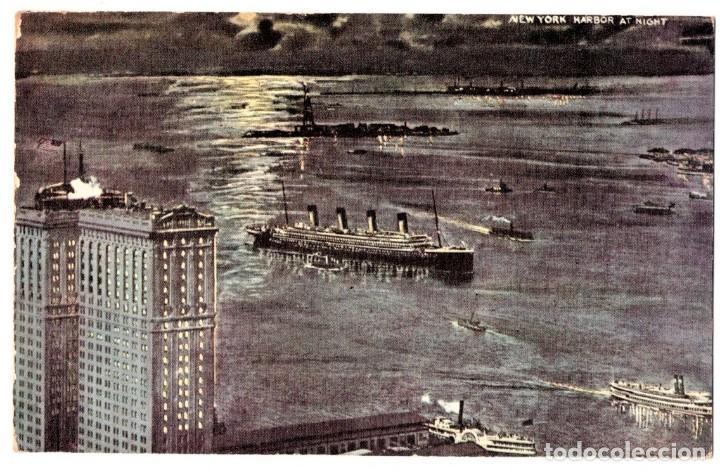 POSTAL ORIGINAL,PUERTO NEW YORK,CON EL TRASATLANTICO OLYMPIC,GEMELO DEL TITANIC,WHITE STAR LINE,RARA (Postales - Postales Temáticas - Barcos)