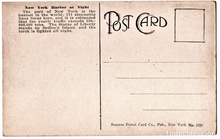 Postales: POSTAL ORIGINAL,PUERTO NEW YORK,CON EL TRASATLANTICO OLYMPIC,GEMELO DEL TITANIC,WHITE STAR LINE,RARA - Foto 3 - 144468934
