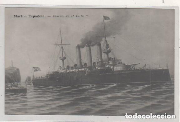 MARINA ESPAÑOLA CRUCERO DE 1ª CARLOS V FERROL PAPELERIA CORREO GALLEGO SIN CIRCULAR (Postales - Postales Temáticas - Barcos)