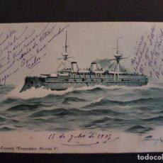 Cartoline: RUCIA CRUCERO EMPERADOR NICOLAS I POSTAL 1905. Lote 147028770