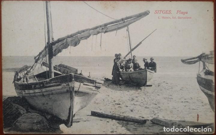 Postales: Sitges playa. L. Roisin. No circulada. Postales barcos - Foto 2 - 134556894