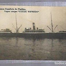 Postales: POSTAL FOTOGRAFICA. COMPAÑIA ESPAÑOLA DE PINILLOS. VAPOR CORREO CONDE WIFREDO. ED GUILLERMO UHL. Lote 151734974