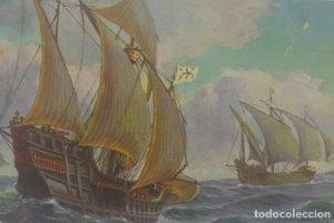 Galeones españoles. Barcos. Postal antigua. Nª22 Spaansche Galjoenen. Finales del siglo XV