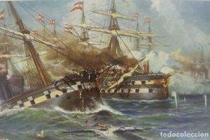 Batalla naval en Lissa 1860 Barcos. Postal antigua. N104 Zeeslag bij Lissa 1860