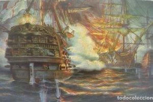 Batalla naval en Abukir 1798 Barcos. Postal antigua. N67 Zeeslag bij Abukir 1798