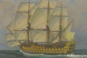 Barcos. Postal antigua. N.55 Fransch Linieschip Le Span pareil 1770