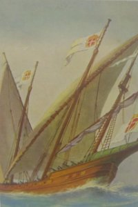 Barco portugués. Siglo 18. Postal antigua N.66