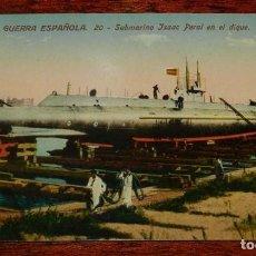 Postales: POSTAL DE MARINA DE GUERRA ESPAÑOLA, N. 20, SUBMARINO ISAAC PERAL EN EL DIQUE, SERIE STANDARD, NO CI. Lote 158939766