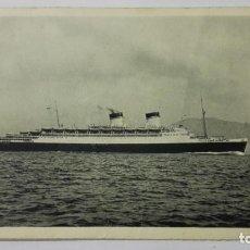 Postales: POSTAL BARCO, CONTE DI SAVOIA, ITALIA FLOTTE RIUNITE GENOVA, SELLO TANGER MARRUECOS, AÑO 1934. Lote 159656050