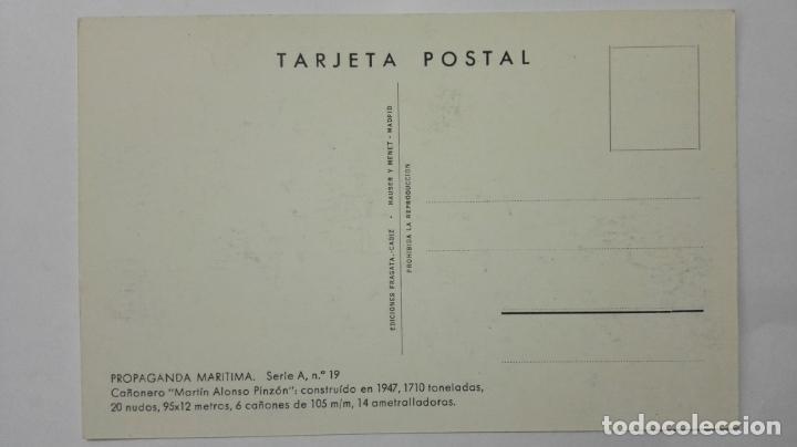 Postales: POSTAL PROPAGANDA MARITIMA, ARMADA ESPAÑOLA, CAÑONERO MARTIN ALONSO PINZON , AÑOS 40 - Foto 2 - 159863562