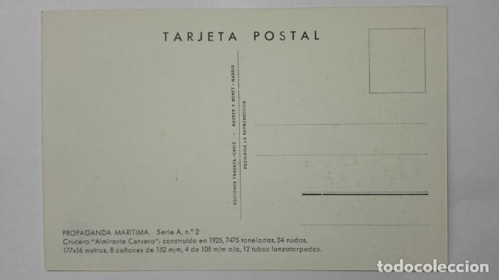 Postales: POSTAL PROPAGANDA MARITIMA, ARMADA ESPAÑOLA, CRUCERO ALMIRANTE CERVERA , AÑOS 20, SERIE A, Nº 2 - Foto 2 - 159864278