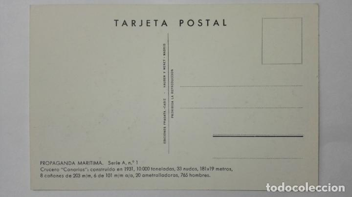 Postales: POSTAL PROPAGANDA MARITIMA, ARMADA ESPAÑOLA, CRUCERO CANARIAS , AÑOS 30, SERIE A, Nº 1 - Foto 2 - 159864642