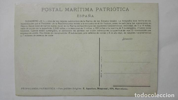 Postales: POSTAL MARITIMA PATRIOTICA, SUBMARINO D 1, DE LA MARINA DE LOS ESTADOS UNIDOS - Foto 2 - 159885014