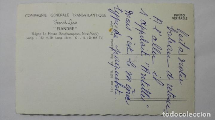 Postales: POSTAL COMPAÑIA GENERAL TRANSATLATICA, LINEA FRANCESA FLANDRE, LE HAVRE-SOUTHAMPTON-NEW YORK - Foto 2 - 159885658