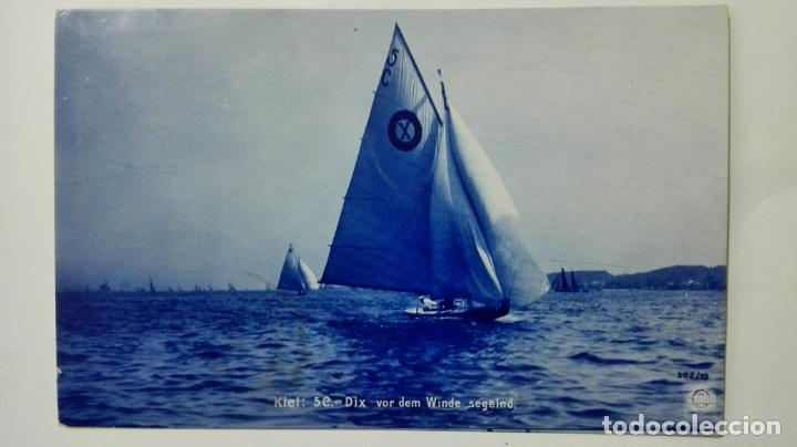 POSTAL FELIZ NAVEGACION CON LAS VELAS AL VIENTO, AÑO 1906 (Postales - Postales Temáticas - Barcos)