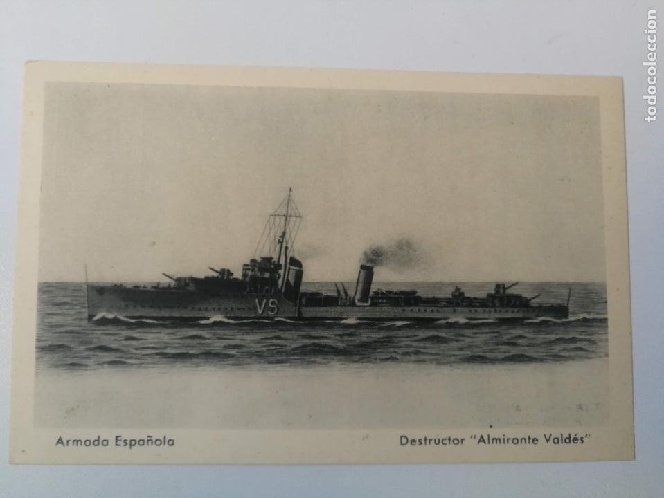 ANTIGUA POSTAL DE LA ARMADA ESPAÑOLA - DESTRUCTOR ALMIRANTE VALDES - PROPAGANDA MARITIMA - EDICIONES (Postales - Postales Temáticas - Barcos)