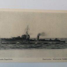 Postales: ANTIGUA POSTAL DE LA ARMADA ESPAÑOLA - DESTRUCTOR ALMIRANTE VALDES - PROPAGANDA MARITIMA - EDICIONES. Lote 159896130