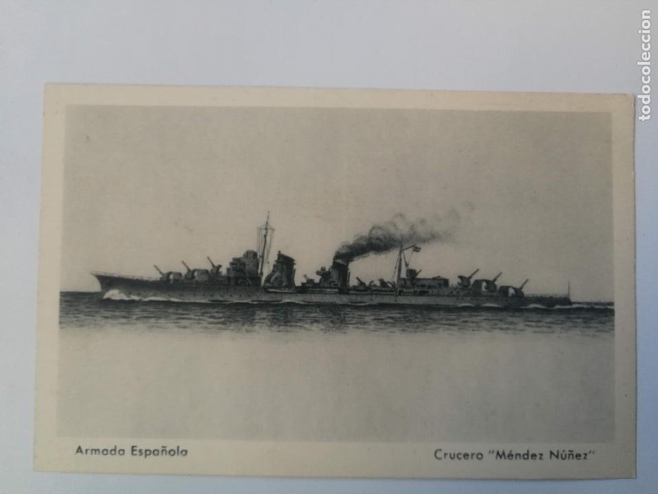 ANTIGUA POSTAL DE LA ARMADA ESPAÑOLA - CRUCERO MENDEZ NUÑEZ - PROPAGANDA MARITIMA - EDICIONES FRAGAT (Postales - Postales Temáticas - Barcos)