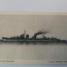 Postales: ANTIGUA POSTAL DE LA ARMADA ESPAÑOLA - CRUCERO MENDEZ NUÑEZ - PROPAGANDA MARITIMA - EDICIONES FRAGAT. Lote 159896494