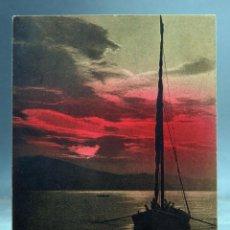 Postales: POSTAL PUESTA DE SOL CON VELERO EDIT BRUNNER CIRCULADA CON SELLO 1916. Lote 160933074