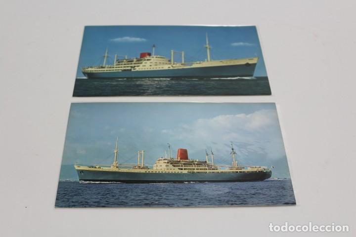 PR-1134. LOTE 2 POSTALES FOTOGRAFICAS EN COLOR EMBARCACIONES M.S. BRAZIL Y S.S.ARGENTINA MARU. S.XX. (Postales - Postales Temáticas - Barcos)
