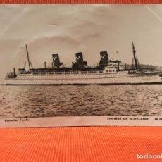 Postales: BARCO EMPRESS OF SCOTLAND NAVIO 1952 CORREO ATLATICO DESDE LIVERPOOL TRAS LA GUERRA. Lote 164877038