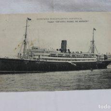 Postales: VAPOR INFANTA ISABEL DE BORBON, 1922, DIRIGIDA A MAZARRON, CON SELLO. Lote 166834730