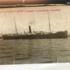 Postales: POSTA BARCO VAPOR CLAUDIO LOPEZ COMPAÑIA TRASATLANTICA ESPAÑOLA . Lote 168405520