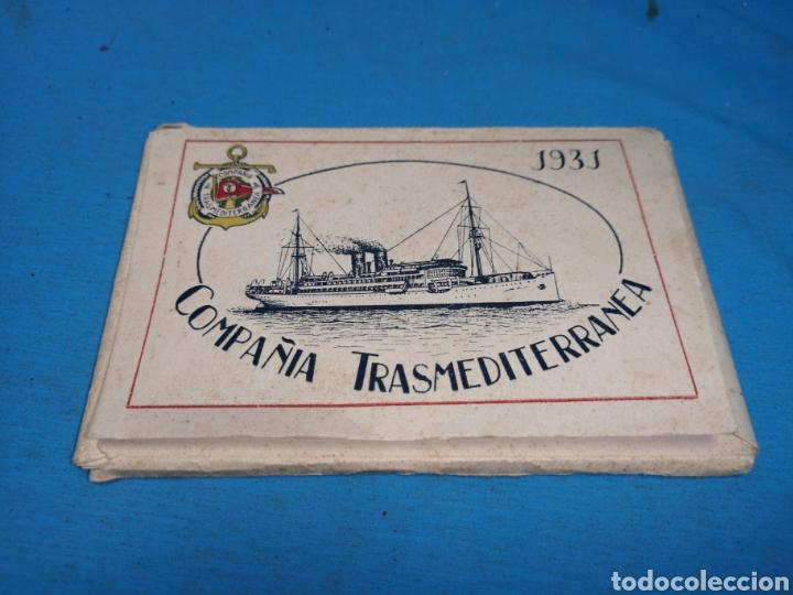 12 FOTOGRAFÍAS-TARJETA POSTAL, 1931, BARCO MOTÓNAVE BARCELONA, Y BARCO VAPOR TEIDE, COMP. TRANSMEDIT (Postales - Postales Temáticas - Barcos)