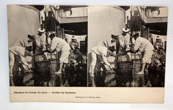 POSTAL ESTEREOSCOPICA - PENDANT LE LAVAGE DU PONT - TORDEZ LES FAUBERTS - SIN CIRCULAR. (Postales - Postales Temáticas - Barcos)