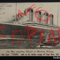 Postales: POSTAL BARCO TITANIC ORIGINAL IMPRESO JUSTO TRAS EL NAUFRAGIO CÍRCULADA 2 MESES DESPUÉS. Lote 143131838