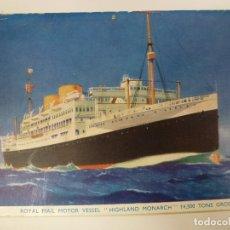 Postales: POSTAL. ROYAL MAIL MOTOR VESSEL. HIGHLAND MONARCH. ESCRITA 1955.. Lote 176540814