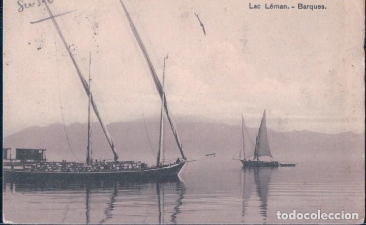 POSTAL BARCO - LAC LEMAN - BARQUES - CIRCULADA - N 185 MUSY FRERES & CO (Postales - Postales Temáticas - Barcos)