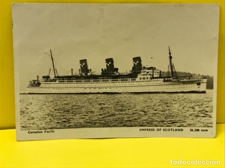 BARCO VAPOR FOTO POSTAL CANADIAN PACIFIC ED INGLESA EMPRESS OF SCOTLAND CIRCULADAS SELLO (Postales - Postales Temáticas - Barcos)