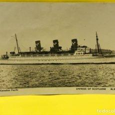 Postales: BARCO VAPOR FOTO POSTAL CANADIAN PACIFIC ED INGLESA EMPRESS OF SCOTLAND CIRCULADAS SELLO. Lote 178087329