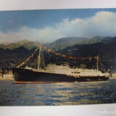 Postales: POSTAL. BARCO. M.S. VENUS. IN PORT. FUNCHAL. MADEIRA. NATURAL COLOUR PHOTOGRAPH. ESCRITA AÑO 1960.. Lote 178778352
