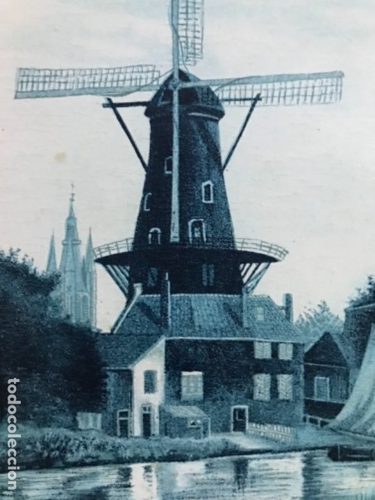 Postales: Antigua postal holanda holland dibujo molino catedral rio barco postal azul paises bajos - Foto 2 - 179006441