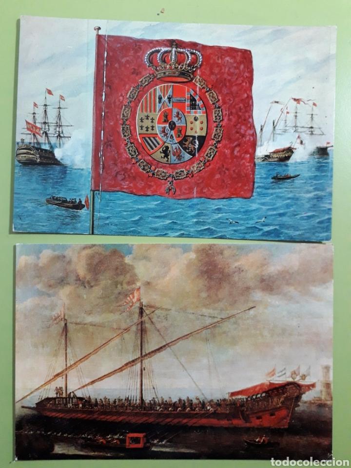 POSTALES MUSEO NAVAL N 8 ESTANDARTE REAL Y 4 GALERA ALMIRANTA (Postales - Postales Temáticas - Barcos)