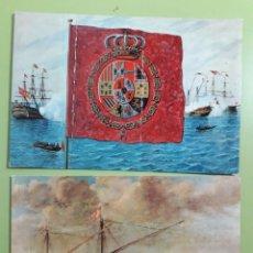 Postales: POSTALES MUSEO NAVAL N 8 ESTANDARTE REAL Y 4 GALERA ALMIRANTA. Lote 180023246